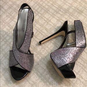Shoes - Silver & Black Heels